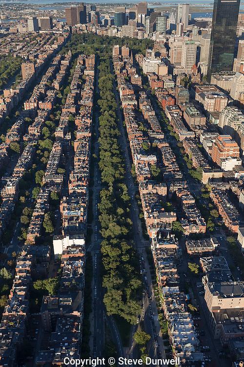 Commonwealth Avenue, aerial view,  Back Bay, Boston, MA