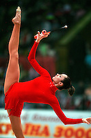 "Anna Bessonova of Ukraine balances with clubs at 2008 World Cup Kiev, ""Deriugina Cup"" in Kiev, Ukraine on March 23, 2008."
