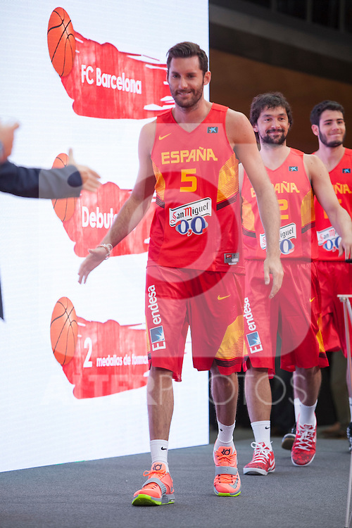 Rudy Fernandez during the official presentation of Spain´s basketball team for the 2014 Spain Basketball Championship in Madrid, Spain. July 24, 2014. (ALTERPHOTOS/Victor Blanco)