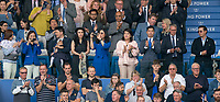 Leicester City Chairman Aiyawatt 'Top' Srivaddhanaprabha (right) and family during the Premier League match between Leicester City and Wolverhampton Wanderers at the King Power Stadium, Leicester, England on 10 August 2019. Photo by Andy Rowland.