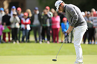 Tyrrell Hatton (ENG) takes his birdie putt on the 16th green during Sunday's Final Round of the 2017 Omega European Masters held at Golf Club Crans-Sur-Sierre, Crans Montana, Switzerland. 10th September 2017.<br /> Picture: Eoin Clarke | Golffile<br /> <br /> <br /> All photos usage must carry mandatory copyright credit (&copy; Golffile | Eoin Clarke)