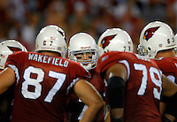 Oct. 16, 2006; Glendale, AZ, USA; Arizona Cardinals quarterback (7) Matt Leinart in the huddle against the Chicago Bears at University of Phoenix Stadium in Glendale, AZ. Mandatory Credit: Mark J. Rebilas
