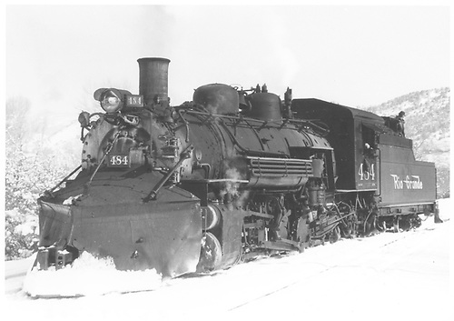 3/4 fireman side view of K-36 #484 with plow.<br /> D&amp;RGW