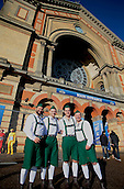29.12.2015. Alexandra Palace, London, England. William Hill PDC World Darts Championship. Keen fans in fancy dress arrive at Alexandra Palace