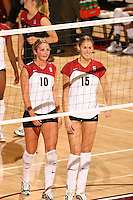 27 October 2005: Michelle Mellard and Kristin Richards during Stanford's 3-0 win over Oregon at Maples Pavilion in Stanford, CA.