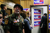 Albuquerque, New Mexico.January 28, 2004.USA..General Wesley Clark campaigns for the New Mexico Primary in a American Legions Post attended by veterans and supporters.