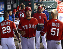 Yu Darvish (Rangers),<br /> MAY 16, 2014 - MLB :<br /> (L-R) Adrian Beltre, Yu Darvish and Alex Rios of the Texas Rangers in the dugout during the Major League Baseball game against the Toronto Blue Jays at Globe Life Park in Arlington in Arlington, Texas, United States. (Photo by AFLO)