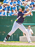 8 July 2014: Vermont Lake Monsters outfielder Brett Vertigan at bat against the Lowell Spinners at Centennial Field in Burlington, Vermont. The Lake Monsters rallied with two runs in the 9th to defeat the Spinners 5-4 in NY Penn League action. Mandatory Credit: Ed Wolfstein Photo *** RAW Image File Available ****