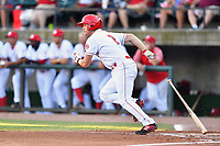 Greenville Reds Tyler Callihan (2) runs to first base during a game against the Elizabethton Twins at Pioneer Park on June 29, 2019 in Greeneville, Tennessee. The Twins defeated the Reds 8-1. (Tony Farlow/Four Seam Images)
