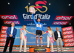 Race leader Tom Dumoulin (NED) Team Sunweb also retains the mountains Maglia Azzura at the end of Stage 15 of the 100th edition of the Giro d'Italia 2017, running 199km from Valdengo to Bergamo, Italy. 21st May 2017.<br /> Picture: LaPresse/Simone Spada | Cyclefile<br /> <br /> <br /> All photos usage must carry mandatory copyright credit (&copy; Cyclefile | LaPresse/Simone Spada)
