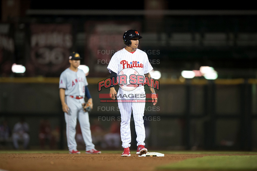 Scottsdale Scorpions third baseman Arquimedes Gamboa (7), of the Philadelphia Phillies organization, leads off second base during an Arizona Fall League game against the Mesa Solar Sox on October 9, 2018 at Scottsdale Stadium in Scottsdale, Arizona. The Solar Sox defeated the Scorpions 4-3. (Zachary Lucy/Four Seam Images)