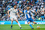 Guilherme dos Santos Torres (R) of RC Deportivo La Coruna fights for the ball with Borja Mayoral Moya of Real Madrid during the La Liga 2017-18 match between Real Madrid and RC Deportivo La Coruna at Santiago Bernabeu Stadium on January 21 2018 in Madrid, Spain. Photo by Diego Gonzalez / Power Sport Images