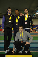 Photo: Tony Oudot/Richard Lane Photography. Aviva World Trials & UK Championships. 14/02/2010. .Mens High Jump. .L to R: Tom Parsons (silver), Samson Oni (Gold), Adam Scarr and Robbie Grabarz (bronze).