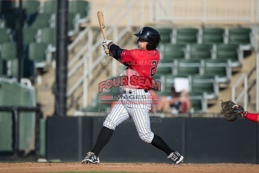 Tyler Sullivan (2) of the Kannapolis Intimidators follows through on his swing against the Hagerstown Suns at Kannapolis Intimidators Stadium on June 14, 2017 in Kannapolis, North Carolina.  The Intimidators defeated the Suns 4-1 in game one of a double-header.  (Brian Westerholt/Four Seam Images)