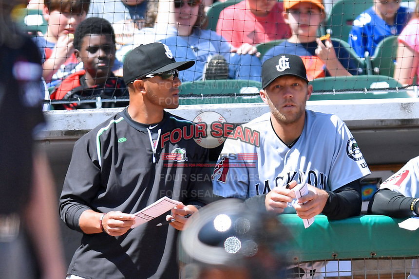 Jackson Generals coach Javier Colina (left) and manager Shelley Duncan (right) during a game against the Tennessee Smokies at Smokies Stadium on April 11, 2018 in Kodak, Tennessee. The Generals defeated the Smokies 6-4. (Tony Farlow/Four Seam Images)