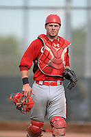 Cincinnati Reds catcher Mitch Trees (33) during an Instructional League game against the Milwaukee Brewers on October 6, 2014 at Maryvale Baseball Park Training Complex in Phoenix, Arizona.  (Mike Janes/Four Seam Images)