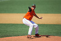 Miami Hurricanes relief pitcher Michael Mediavilla (18) in action against the Wake Forest Demon Deacons at Wake Forest Baseball Park on March 22, 2015 in Winston-Salem, North Carolina.  The Demon Deacons defeated the Hurricanes 10-4.  (Brian Westerholt/Four Seam Images)