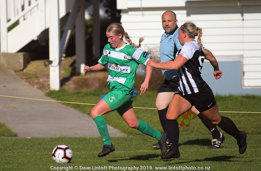 Action from the Women's Central League football match between Waterside Karori and Palmerston North Marist at Karori Park in Wellington, New Zealand on Saturday, 18 May 2019. Photo: Dave Lintott / lintottphoto.co.nz
