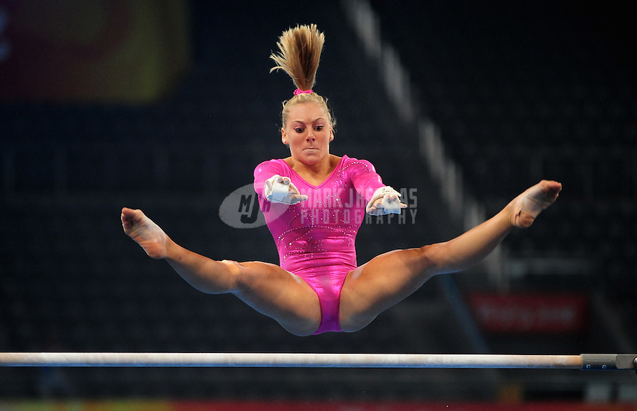 Aug. 7, 2008; Beijing, CHINA; Samantha Peszek (USA) performs on the uneven bars during womens gymnastics training prior to the Olympics at the National Indoor Stadium. Mandatory Credit: Mark J. Rebilas-