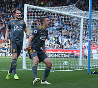 Leicester City's Jamie Vardy celebrates scoring his second and side's fourth goal <br /> <br /> Photographer Stephen White/CameraSport<br /> <br /> The Premier League - Huddersfield Town v Leicester City - Saturday 6th April 2019 - John Smith's Stadium - Huddersfield<br /> <br /> World Copyright © 2019 CameraSport. All rights reserved. 43 Linden Ave. Countesthorpe. Leicester. England. LE8 5PG - Tel: +44 (0) 116 277 4147 - admin@camerasport.com - www.camerasport.com