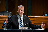 United States Senator Dan Sullivan (Republican of Alaska), speaks during a US Senate Environment and Public Works Committee hearing with Andrew Wheeler, administrator of the Environmental Protection Agency (EPA), not pictured, on Capitol Hill in Washington, D.C., U.S., on Wednesday, May 20, 2020. <br /> Credit: Al Drago / Pool via CNP/AdMedia