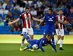 Jack O'Connell of Sheffield Utd and Kenneth Zohore of Cardiff City during the Championship match at the Cardiff City Stadium, Cardiff. Picture date: August 15th 2017. Picture credit should read: Simon Bellis/Sportimage
