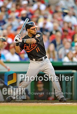 18 May 2012: Baltimore Orioles infielder Robert Andino in action against the Washington Nationals at Nationals Park in Washington, DC. The Orioles defeated the Nationals 2-1 in the first game of their 3-game series. Mandatory Credit: Ed Wolfstein Photo