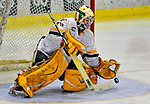 7 February 2009: University of Vermont Catamount goaltender Rob Madore, a Freshman from Venetia, PA, makes a third period save against the Providence College Friars during the second game of a weekend series at Gutterson Fieldhouse in Burlington, Vermont. The Catamounts swept the 2-game series notching 4-1 wins in both games. Mandatory Photo Credit: Ed Wolfstein Photo