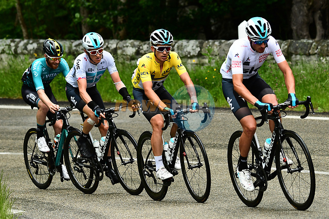 Maillot Blanc Gianni Moscon (ITA), race leader Michal Kwiatkwoski (POL) Maillot Jeune and Geraint Thomas (WAL) Team Sky in action during Stage 1 of the 2018 Criterium du Dauphine 2018 running 179km from Valence to Saint-Just-Saint-Rambert, France. 4th June 2018.<br /> Picture: ASO/Alex Broadway | Cyclefile<br /> <br /> <br /> All photos usage must carry mandatory copyright credit (© Cyclefile | ASO/Alex Broadway)