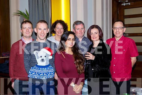 Oliver Butler, John Sweeney, Siobhain O'Shea, Shalini Shivami, Des O'Keeffe, Margaret Egan and Steve Warsop enjoying the Fexco Christmas party in the Brehon Hotel on Friday night