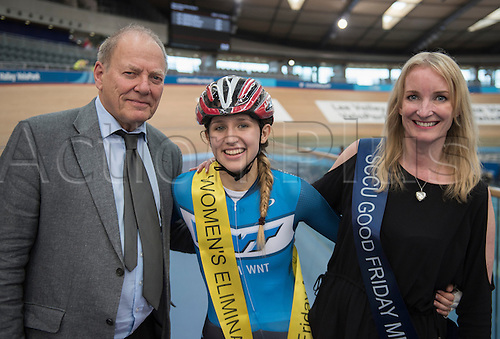 25.03.2016. Lee Valley, Velopark, London, England.  The Good Friday Track Cycling Meeting.  Keira Mc Vitty Womans Elimination Winner 2016