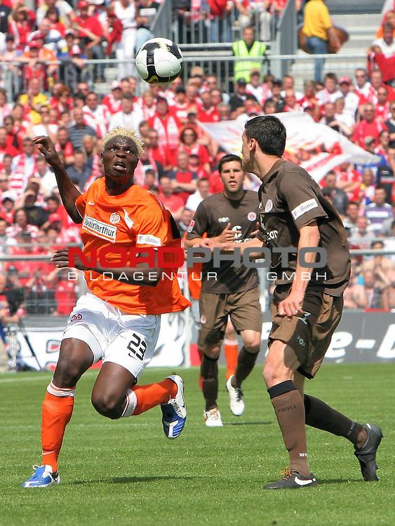 2.Liga FBL 2008/2009  31.Spieltag R&uuml;ckrunde<br /> FC St.Pauli vs. FSV Mainz 05<br /> <br /> <br /> Aristide Bance (Nr.23) gegen St.Paulis Ralph Gunesch (Nr.11).<br /> <br /> Foto &copy; nph (nordphoto)<br /> <br /> *** Local Caption ***
