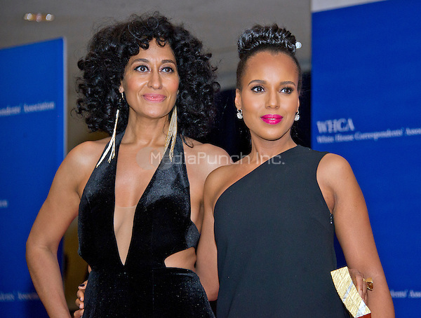 Tracee Ellis Ross, left, and Kerry Washington arrive for the 2016 White House Correspondents Association Annual Dinner at the Washington Hilton Hotel on Saturday, April 30, 2016.<br /> Credit: Ron Sachs / CNP<br /> (RESTRICTION: NO New York or New Jersey Newspapers or newspapers within a 75 mile radius of New York City)/MediaPunch