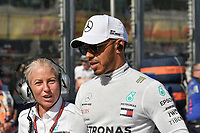 March 25, 2018: Lewis Hamilton (GBR) #44 from the Mercedes AMG Petronas Motorsport team on the grid prior to the start of the 2018 Australian Formula One Grand Prix at Albert Park, Melbourne, Australia. Photo Sydney Low