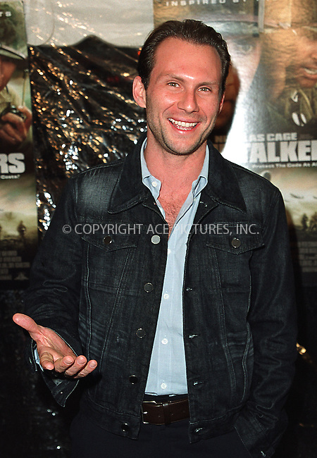 "Cristian Slater arrives at the New York premiere of ""Windtalkers."" New York, June 6, 2002. Please byline: Alecsey Boldeskul/NY Photo Press.   ..*PAY-PER-USE*      ....NY Photo Press:  ..phone (646) 267-6913;   ..e-mail: info@nyphotopress.com"
