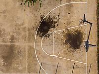 Torino 22 April 2020<br /> <br /> Basketball pitch  <br /> Aerial views of empty sports fields, in the city of Turin and its province, due to the total lockdown imposed by the Italian government at all levels of sports for the Coronavirus pandemic (covid19) in 2020. <br /> <br /> Viste col drone di campi sportivi della città di Torino e della sua provincia deserti, nel weekend ed in settimana a causa del lockdown totale imposto dal governo Italiano dello sport a tutti i livelli per la pandemia del Coronavirus (covid19). <br /> <br /> Photo: Federico Tardito / Insidefoto
