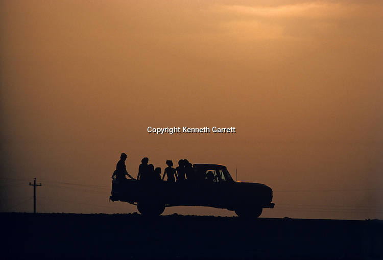 Mexico, Mexican People, ride in back of truck, daily life, North America