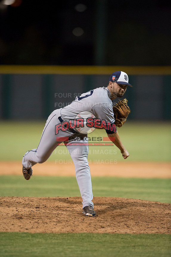 AZL Padres 1 relief pitcher Jake Sims (40) follows through on his delivery during an Arizona League game against the AZL Cubs 1 at Sloan Park on July 5, 2018 in Mesa, Arizona. The AZL Cubs 1 defeated the AZL Padres 1 3-1. (Zachary Lucy/Four Seam Images)