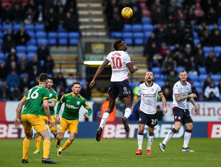 Bolton Wanderers' Sammy Ameobi heads <br /> <br /> Photographer Andrew Kearns/CameraSport<br /> <br /> The EFL Sky Bet Championship - Bolton Wanderers v Preston North End - Saturday 9th February 2019 - University of Bolton Stadium - Bolton<br /> <br /> World Copyright © 2019 CameraSport. All rights reserved. 43 Linden Ave. Countesthorpe. Leicester. England. LE8 5PG - Tel: +44 (0) 116 277 4147 - admin@camerasport.com - www.camerasport.com