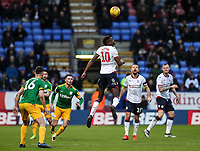 Bolton Wanderers' Sammy Ameobi heads <br /> <br /> Photographer Andrew Kearns/CameraSport<br /> <br /> The EFL Sky Bet Championship - Bolton Wanderers v Preston North End - Saturday 9th February 2019 - University of Bolton Stadium - Bolton<br /> <br /> World Copyright &copy; 2019 CameraSport. All rights reserved. 43 Linden Ave. Countesthorpe. Leicester. England. LE8 5PG - Tel: +44 (0) 116 277 4147 - admin@camerasport.com - www.camerasport.com