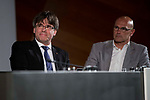 President of Catalonia, Carles Puigdemont and external Counselor Raul Romeva attends to conference at Madrid Town Hall, May 22, 2017. Spain.<br /> (ALTERPHOTOS/BorjaB.Hojas)