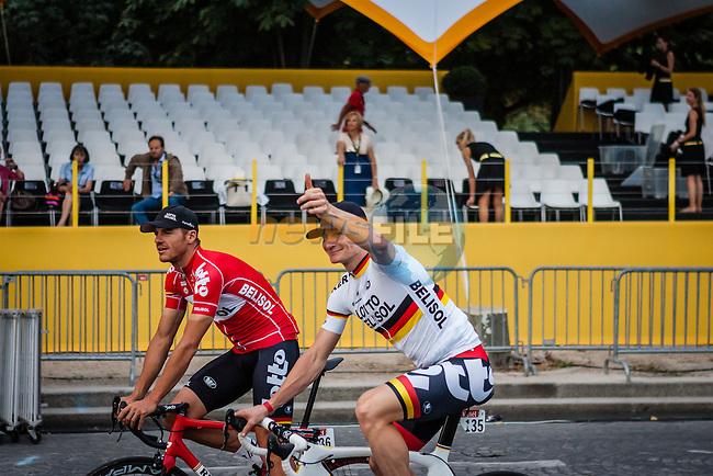 Andre Greipel (GER) and Adam Hansen (AUS) of Lotto Belisol in the victory lap,  Tour de France, Stage 21: Évry > Paris Champs-Élysées, UCI WorldTour, 2.UWT, Paris Champs-Élysées, France, 27th July 2014, Photo by Pim Nijland
