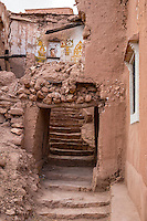 Morocco.  Entranceway to a Collapsed House, Ait Benhaddou Ksar, a World Heritage Site.