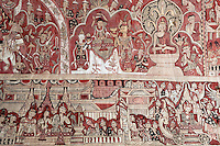 Myanmar (Burma), Sagaing-Division, near Monywa: Hpo Win Daung (Buddha cave-niche complex). Colourful mural on wall of carved out cave | Myanmar (Birma), Sagaing-Division, bei Monywa: Hpo Win Daung - Wandmalereien in einer in Stein gehauenen Hoehle