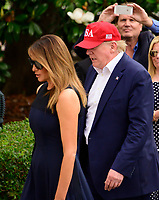 United States President Donald J. Trump and first lady Melania Trump return to the South Lawn of the White House in Washington, DC from their European trip on Friday, June 7, 2019.<br /> CAP/MPI/RS<br /> ©RS/MPI/Capital Pictures