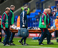 Bolton Wanderers' Josh Vela is stretchered off the pitch with an injury<br /> <br /> Photographer Andrew Kearns/CameraSport<br /> <br /> The EFL Sky Bet Championship - Bolton Wanderers v Leeds United - Sunday 6th August 2017 - Macron Stadium - Bolton<br /> <br /> World Copyright &copy; 2017 CameraSport. All rights reserved. 43 Linden Ave. Countesthorpe. Leicester. England. LE8 5PG - Tel: +44 (0) 116 277 4147 - admin@camerasport.com - www.camerasport.com