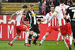14.01.2018, RheinEnergieStadion, Koeln, GER, 1.FBL., 1. FC K&ouml;ln vs. Borussia M&ouml;nchengladbach<br /> <br /> im Bild / picture shows: <br /> Patrick Herrmann (Gladbach #7),   im Zweikampf gegen  Marco H&ouml;ger/Hoeger (FC K&ouml;ln #6),  li und Lukas Kl&uuml;nter/Kluenter (FC K&ouml;ln #24),  re<br /> <br /> <br /> Foto &copy; nordphoto / Meuter