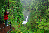 A visitor (mr) views the Metlako Falls along the Eagle Creek Trail, Columbia River Gorge National Scenic Area, Oregon
