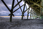 Folly Beach Pier Sunrise South Carolina Clouds Water Ocean Atlantic