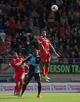 Jay Simpson of Leyton Orient rises high to win the ball in the air during the Sky Bet League 2 match between Leyton Orient and Wycombe Wanderers at the Matchroom Stadium, London, England on 19 September 2015. Photo by Andy Rowland.